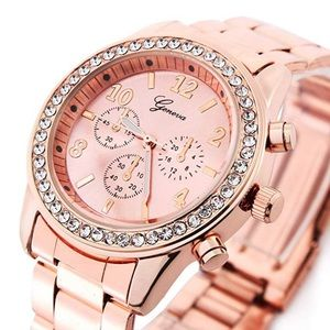 ⏰Geneva Rose Gold Plated Round CZ Quartz Watch⏰